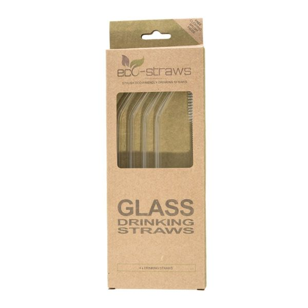 ANGLED Glass Drinking Straws (6mm x 215mm)